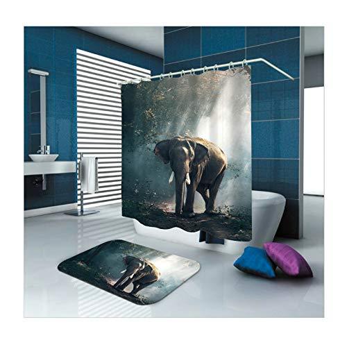 Beydodo Badezimmerteppich Set 2 Stück Lustiger Duschvorhang 180x200, Elefant im Wald Badezimmerteppich rutschfest 40x60 cm