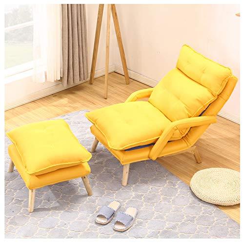 ZYLE Único Lazy Couch Tatami Bean Bag Multifunción Extraíble Lavable TV Silla Dormitorio Sala de Estar Oficina Silla for la Siesta con reposapiés 60 × 128 cm (Color : Yellow)