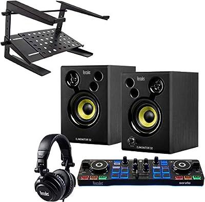 Hercules DJ Starter Kit 2-Deck USB DJ Controller Set + Keepdrum HA-LS20 Laptop Stand