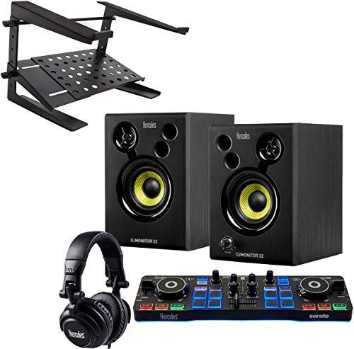 Hercules DJ Starter Kit 2 Deck USB DJ-Controller Set + keepdrum HA-LS20 Laptopständer
