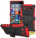 FoneExpert® Microsoft Lumia 950 Handy Tasche, Hülle Abdeckung Cover schutzhülle Tough Strong Rugged Shock Proof Heavy Duty Hülle für Microsoft Lumia 950 + Bildschirmschutzfolie (Rot)