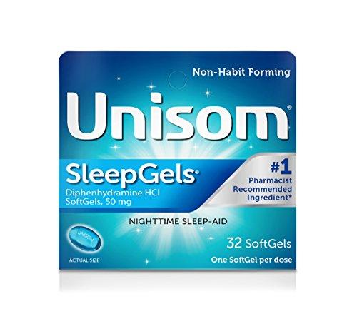 Unisom SleepGels, Nighttime Sleep-Aid, 50 mg Diphenhydramine HCl, 32 Soft Gel Capsules (Pack of 36)