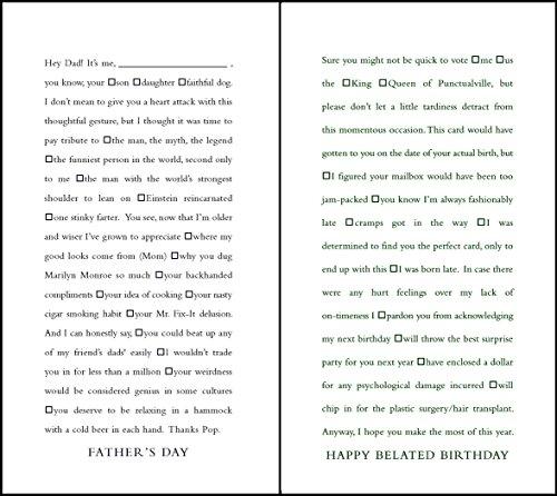 quiplip Funny Lückentext Vater 's Day und Verspätete Geburtstag Karten, 6er Pack (ql08326pck)