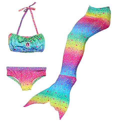 Feynman Traje de Baño de Sirena Con Aleta para Niñas Bikini Set Disfraces para Fiesta