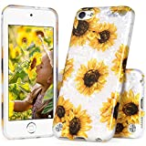 iPod Touch 7th Generation Case for Girls, IDYStar White Translucent Sparkle Clear Cheeath Design Cover, Lightweight Durable Soft Silicone Case for iPod Touch 5/6/7th Generation, Sunflower