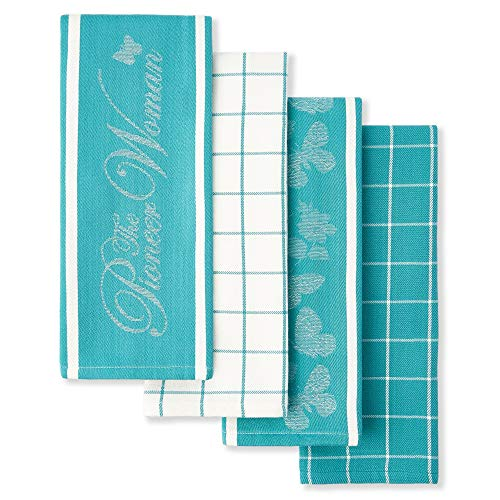 Pioneer Woman Butterfly Kitchen Tea Towels Set of 4 Assorted Teal Mint Aqua