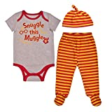 Warner Bros. Harry Potter Boy's 3-Piece Snuggle This Muggle Footed Pant Set, Maroon/Beige/Yellow, Size NB