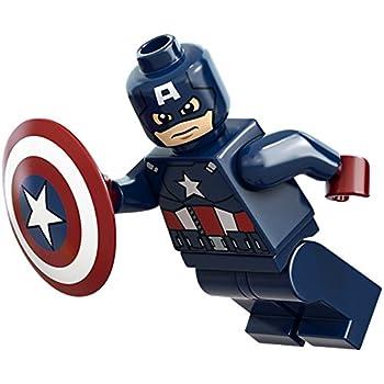 Amazon Com Lego Marvel Super Heroes Minifigure Captain America Dark Blue With Shield 6865 Everything Else