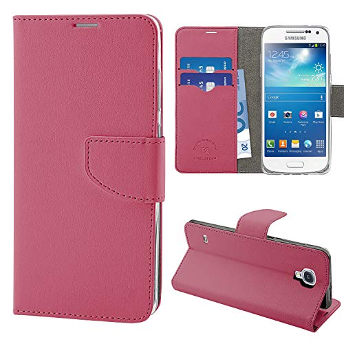 N NEWTOP Cover Compatibile per Samsung Galaxy S4 Mini, HQ Lateral Custodia Libro Flip Chiusura Magnetica Portafoglio Simil Pelle Stand (Fucsia)