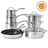ProCook Professional Steel - Batterie Set Casseroles Poêle & Marmite INOX 18/10 Induction - avec Couvercles Verre Trempé -...