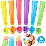 Silicone Ice Pop Molds Silicone Popsicle Molds Ice Popsicle Maker with Lids, Assorted Color (6)