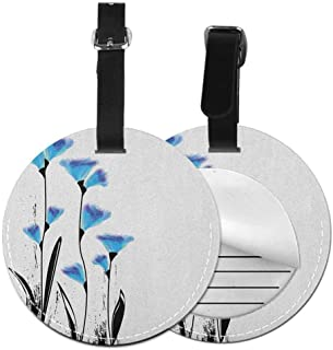 Multicolor round luggage tag Floral Quickly find the suitcase Vector Flowers Turkish Ottoman Tulips in Ombre Watercolored Image,Diameter3.7