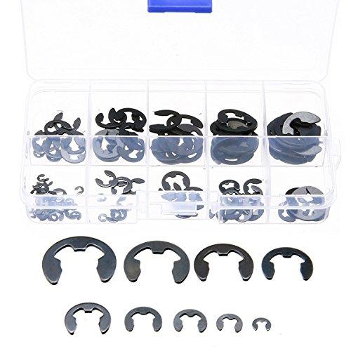 120 Stücke 10 Edelstahl der Größe 304 E-Clip Halteknopf Öffnungsring Sicherungsring Kit 1,5 / 2/3/4/5/6/7/8/9 / 10mm mit Kunststoffbox