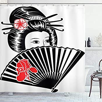 Ambesonne Japanese Shower Curtain Cultural Portrait of an Asian Lady Covered Her Face Holding a Fan Feminine Graphic Artwork Graphic Cloth Fabric Bathroom Decor Set with Hooks 70  Long Black Red