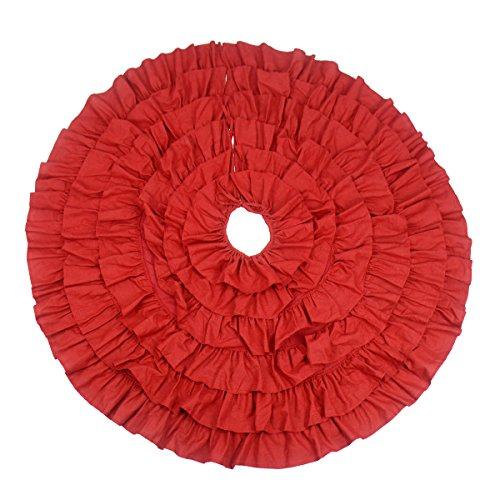 Gardeningwill Tapis de sol rond en lin rouge pour sapin de Noël