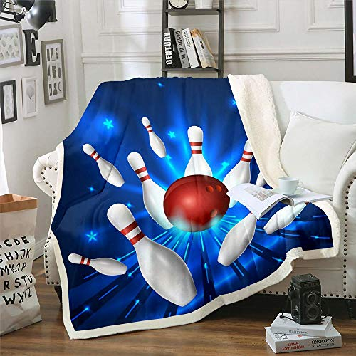 Homewish Bowling Throw Blanket White Bottle and Red Ball Print Bed Throws for Kids Boys Sports Theme Flannel Fleece Blanket for Couch Sofa Lightweight Fuzzy Blanket, Queen Size (90 x 90 Inches)