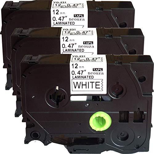 "NEOUZA 3PK Black on White Laminated Label Tape Compatible for Brother TZ TZe 231 TZ231 TZe231 TZ-231 TZe-231 P-Touch 12mmx8m(0.47""x26.2')"