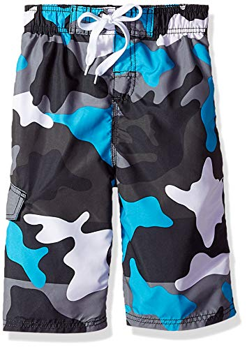 Kanu Surf Boys#039 Big Viper Quick Dry UPF 50 Beach Swim Trunk Surf Camo Black/Aqua 8