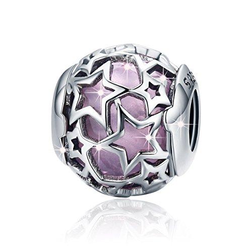 Star Charms Charm-Anhänger, Zierkugel aus 925er-Sterlingsilber mit eingefasster Glasperle in Blau, für Armbänder oder Halsketten, Damenschmuck rose