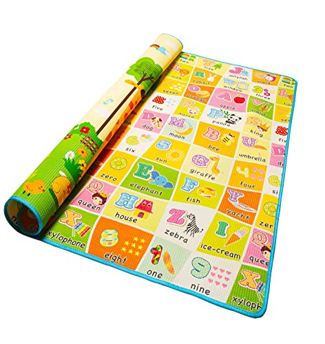 Alea Baby Tappeto Neonato Gattonamento Ripiegabile 120x160 (con borsetta) Gioco e Divertimento Bambini con tanti Colori - Certificato CE (Multicolore-M)