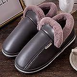 Nwarmsouth Algodón Calentar Zapatilla Mujer Hombres,Zapatos de Cuero con tacón de Pan de algodón, Pantuflas de Felpa de Fondo Grueso-Gris_34-35,Zapatos de casa con Interior