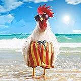 Kits de pintura rápida por números para adultos y niños Animal Beach Chicken DIY Kits de regalo de pintura al óleo digital Arte preimpreso Decoración del hogar - 40 * 50cm