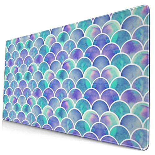 Mermaid Tail Scales Fish Scale Pattern Gaming Mouse Pad Desk Mouse Mat Large Size 15.8x29.5 x0.12inches Computer Keyboard Mousepad for Gaming and Office Home