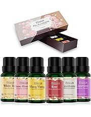 Aceites Esenciales,Naturales ESSLUX Flores Aceites Esenciales para Humidificador Difusor Top 6 Set Natural Puro, Rosa, Ylang ylang, Jazmín, Gardenia, Cerezo, Té Blanc