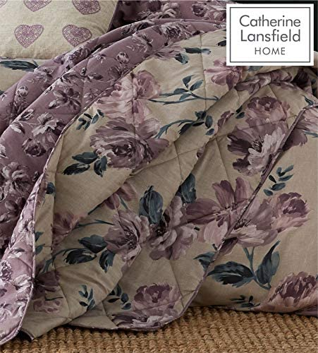 Catherine Lansfield Painted Floral Easy Care Bedspread Plum, 220x230cm
