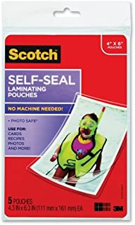 """Scotch Self-sealing Laminating Pouch - 4"""" Width x 6"""" Length x 9.60 mil Thickness - Type G - Glossy - Acid-free, Photo-safe..."""
