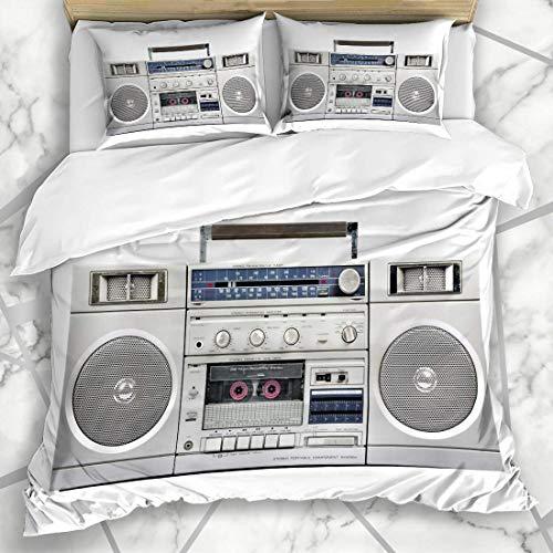 Juegos de fundas nórdicas Altavoz de escucha Radio plateado Boom Box Tecnología de casete Dj Vintage Tape Stereo Retro Blanco Ropa de cama de microfibra con 2 fundas de almohada Cuidado fácil Antialér