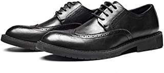 Bin Zhang Brogue Oxford for Men Formal Dress Shoes Lace up Microfiber Leather Rubber Sole Round Toe Burnished Style Anti-Slip Perforated (Color : Black, Size : 7.5 UK)