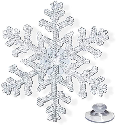 max-schuster.de 6 Fensterdeko Sterne Schneeflocken Eiskristalle Deko für Weihnachten, 12cm groß wiederverwendbar mit Saugnapf oder zum Aufhängen an Fenster, Schaufenster und Baum