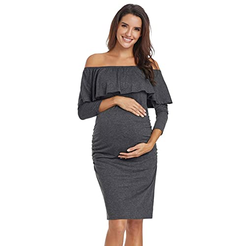 8af8d77a2f95 Jezero Women's Ruffle Off Shoulder Sleeveless & 3/4 Sleeve Maternity Dress  Ruched Sides Knee