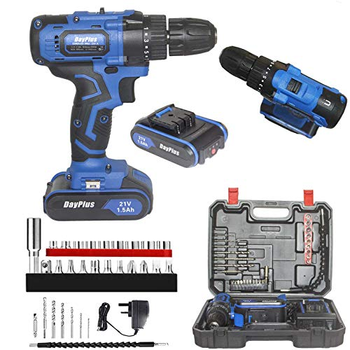 21V Electric Cordless Drill Driver Set 3/8 inches Keyless Chuck w/1.5AH Li-Ion Battery Fast Charger, 2 Speed 18+1 Torque Setting 45N.m,Magnet&Hammer Functions,LED Work Light 29pcs Accessories & Case