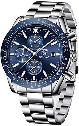 BENYAR Reloj cronógrafo para Hombre Impermeable Relojes Business Casual Deporte Reloj de Pulsera