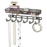 mDesign Práctico organizador de joyas para pared– Con 6 ganchos y 2...