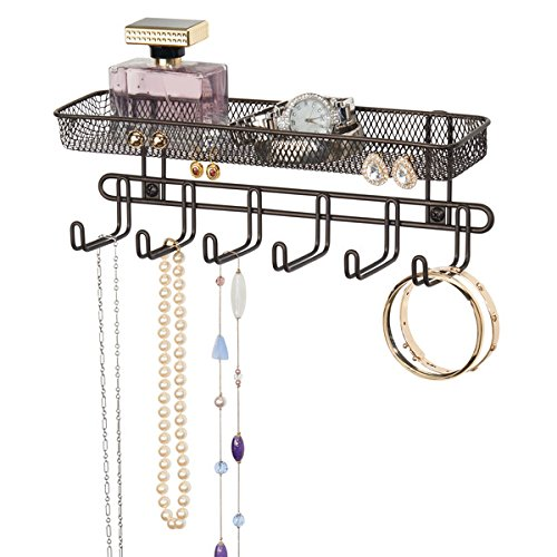 mDesign Schmuckaufbewahrung zum Aufhängen - wandmontiert - MIt 6 Haken und 2 Fächern - Modeschmuck-Organizer für Brillen, Ketten, Ohrringe und Accessoires - Schmuck Halter zum Hängen - Farbe: Bronze