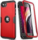 Hülle für iPhone SE 2020 Schutzhülle mit eingebautem Bildschirmschutz Hochleistungsschutz Slim Cover Fit Stoßfeste Abdeckung für iPhone SE 2020 Handyhülle 4,7 Zoll (2020) -rot