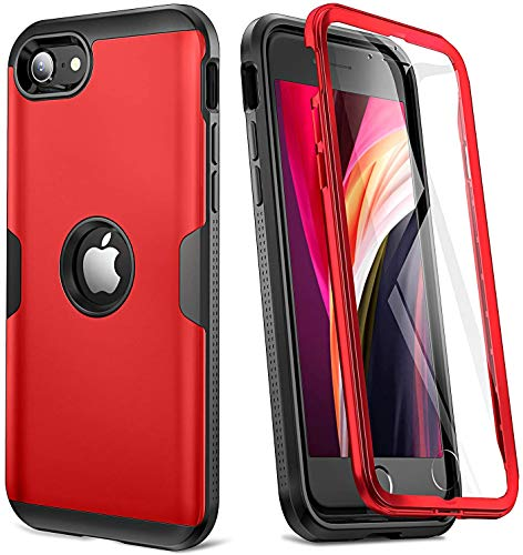 YOUMAKER [2020 Upgraded] iPhone SE 2020 Case, Full Body Rugged with Built-in Screen Protector Heavy Duty Protection Slim Fit Shockproof Cover for iPhone SE 2020 Case 4.7 Inch (2020) - Red/BK
