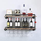 Rustic Wine Glass Rack Wall Mounted with 7 Stem Glass Holder,Industrial Pipe Hanging Wall Mount Wine Racks 2-Tiers,Metal Spice and Wine Glass Rack Wine Holder,36in Wine Glass Wall Shelf Pipe Shelves