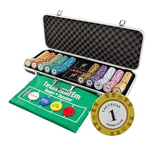 Fichas de Póquer de Casino de 14 Gramos 500 Piezas de Fichas Compuestas de Arcilla con Estuche de Aluminio, Estuche de ABS Negro, para Texas Holdem, Blackjack, Juegos de Casino