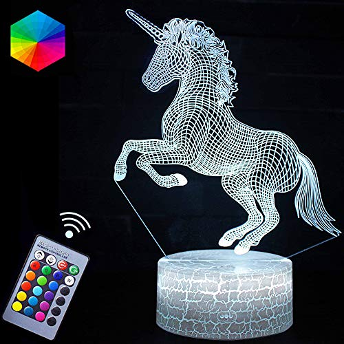 Unicorn Lights Lamp 3D Optical Illusion LED Night Lights with Remote Control & 16 Colors Sleep Aid& Night Guidance Nightstand Lights Best Bday Christmas Gifts for Girls Kids(Unicorn Beauty)