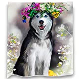 Loong Design Husky Throw Blanket Soft Fluffy Premium Sherpa Fleece Blanket 50'' x 60'' Fit for Sofa Chair Bed Office Travelling Camping Gift