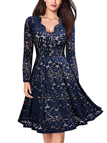 MIUSOL Damen Vintage 1950er V-Ausschitt Cocktailkleid Retro Spitzen Schwingen Pinup Rockabilly Kleid Navy Blau Gr.M