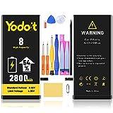 Yodoit Batería para iPhone 8 2800mAh bateria Recambio, Aumento del 54% de la Capacidad de la batería Reemplazo de Alta Capacidad Batería con Kits de Herramientas de reparación