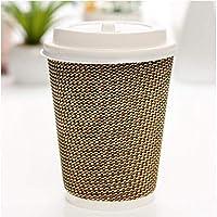 TYUIO 500パック断熱クラフトリップル壁使い捨て使い捨てペーパーカップオフィスパーティー用コーヒーカップホームトラベル段ボールスリーブふた付きホットドリンクカップ (Color : White Cover, Size : 14Oz)