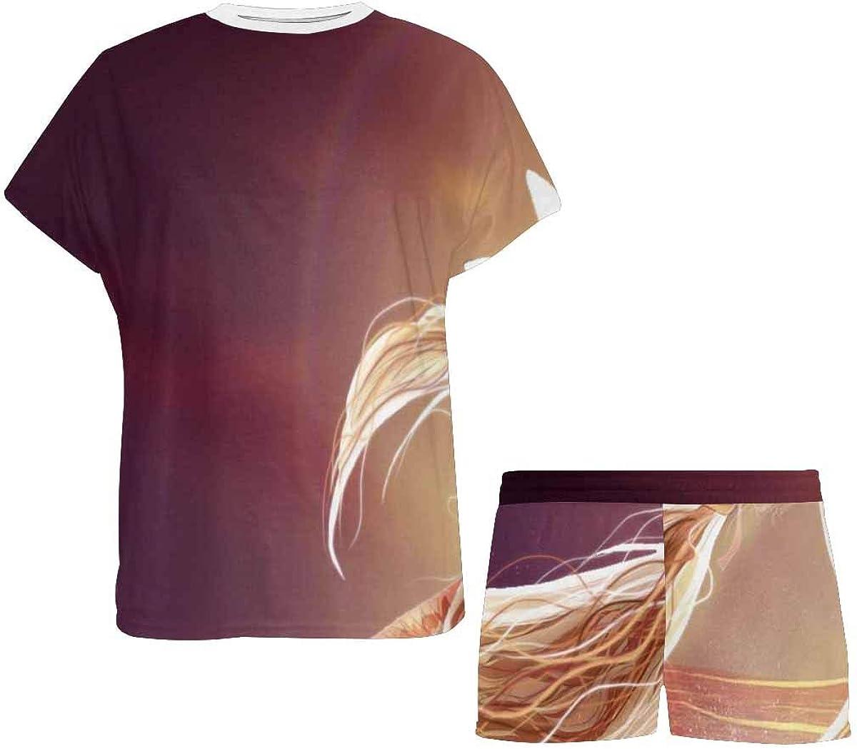 INTERESTPRINT Pegasus Bright Sunrise Women's Pajamas Short Sets Round Neck Short Sleeve Sleepwear
