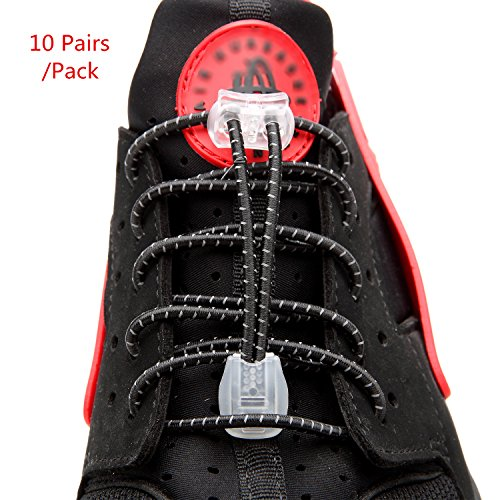 No Tie Shoelaces - 10 Pairs/Pack - Elastic Lock Shoe Laces for Boots Never Tie Lacing System Black