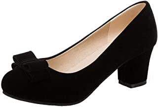 VogueZone009 Women's Imitated Suede Round Closed Toe Solid Pumps-Shoes,CCADP011904